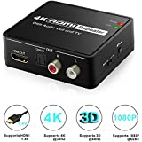 HDMI Audio Extractor, Aerctor HDMI to HDMI + Optical Toslink(SPDIF) + 2RCA(L/R) Stereo Analog Outputs Video Audio Converter Support 4Kx2K,Black ¡­