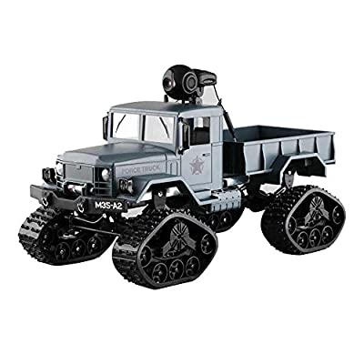Toy RC Truck IKevan Remote Control Car, RC Military Truck Army 1:16 4WD Tracked Wheels Crawler Off-Road Car RTR Toy New