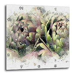 3dRose Anne Marie Baugh - Impressionist Mixed Media Art - Image of Watercolor Artichoke Art - 10x10 Wall Clock (DPP_318656_1)