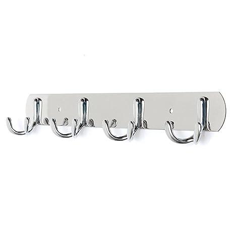 Zedtom Perchero de pared con ganchos de acero inoxidable, ideal para ropa o toallas, 1 unidad