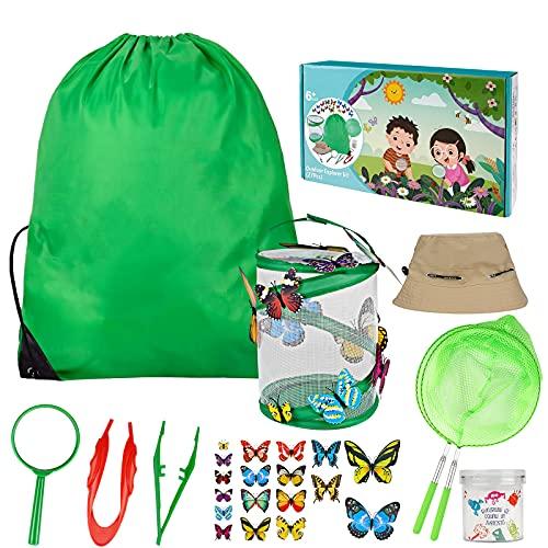Kizmyee Outdoor Spiele für Kinder Schmetterlinge züchten mit Lupe Insektensammelflasche Insektennetz Hut Schmetterlingsmodell Schmetterlinge Züchten Kinder Outdoor Bildungs Kit (27 PCS)