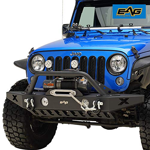E-Autogrilles Black 07-16 Jeep Wrangler JK Rock Crawler Front Bumper with OE Fog Light Hole & Winch Plate (51-0309) ()