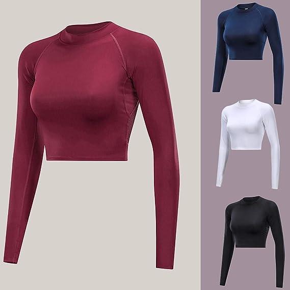 Snailify Damen Laufshirt Funktionsshirt Sportbekleidung Langarm