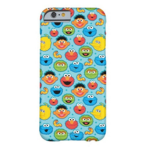 Iphone 6 Plus Case,Sesame Street Faces Pattern On Blue Barely There Phone Case for Iphone 6 Plus (5.5-Inch)
