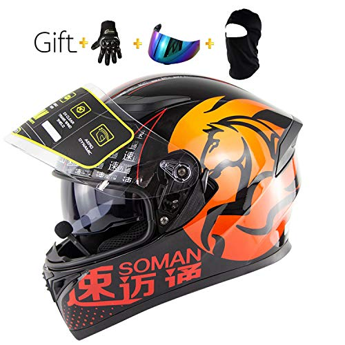 Yedina Motorcycle Bluetooth Helmet D.O.T Safety Standard Double Lens Removable Lining/Auto Answer/Automatic Pause Bluetooth Helmet/Gift Gloves, Color Goggles, Mask,5,L
