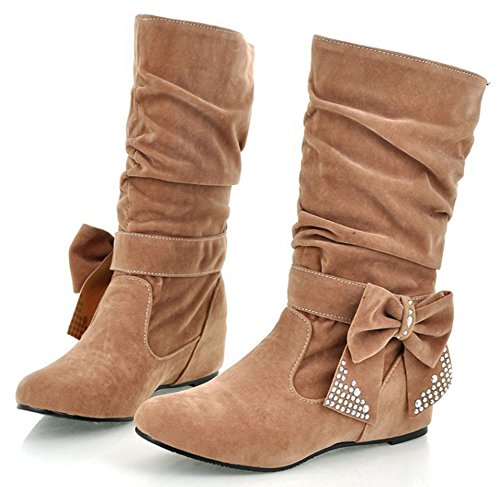 IDIFU Womens Sweet Bow Rhinestone Slouch Riding Mid Calf Boots With Heels Inside Yellow 3KMjn5Pys