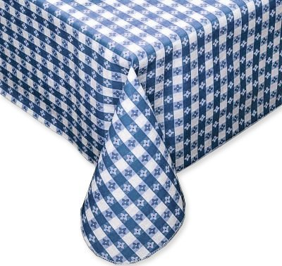 "Blue Tavern Check Vinyl Flannel Back Tablecloth - 52"" x 70"" Oblong"