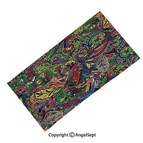 (Seamless Bandanas Face Mask Headband Sports,Ancient Occult Inspired Motifs Folk Gaelic Artistic Floral Interlacing Green and White,Multifunctional Scarf Headwrap Neck Warmer)