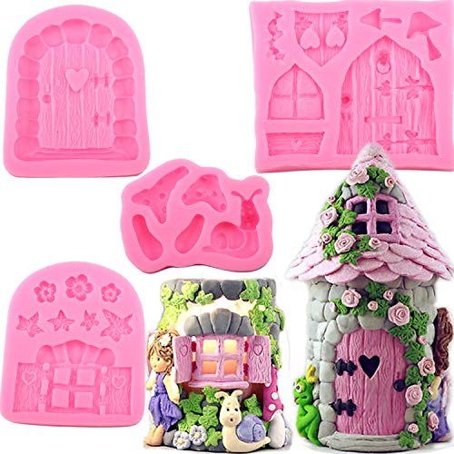Mujiang Enchanted Vintage Fairy Garden Fairy Gnome Home Door Snail Silicone Chocolate Fondant Molds Crafting Polymer Clay Cake Decorating Set Of 4]()