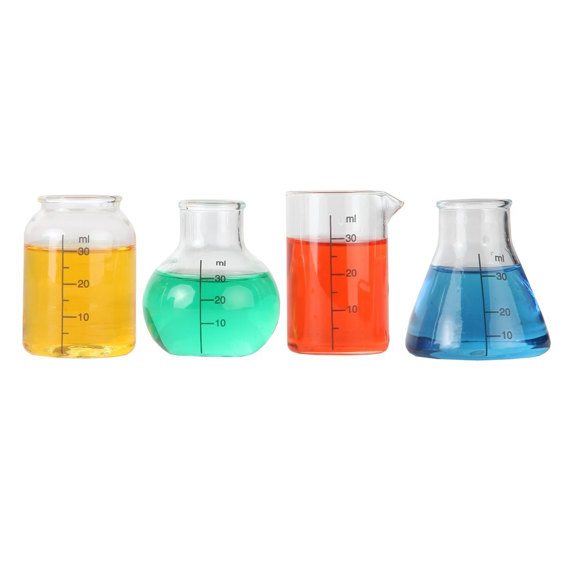 Lily's Home Mini Science Beaker and Flask Shot Glasses, Great Gift for Chemistry and Bio Grads, Nurses and Doctors, Clear (2 to 2 1/8'' Tall, Set of 4 Assorted)