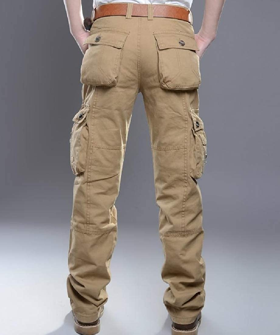 YUNY Mens Combat Cargo Military Straight Stylish Hiking Pants Khaki 30