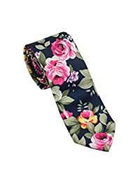 FSLESI Men Casual Fashion Floral Cotton Slim Tie Necktie