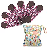 Reusable Sanitary Pads(6 pcs, 29.5cm), Panty Liners with Wet Bag by Teamoy