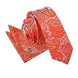 DQT Premium Woven Microfibre Paisley Floral Patterned Burnt Orange Men's Wedding Skinny Narrow 5cm Tie with Matching Handkerchief Pocket Square and Cufflinks Set
