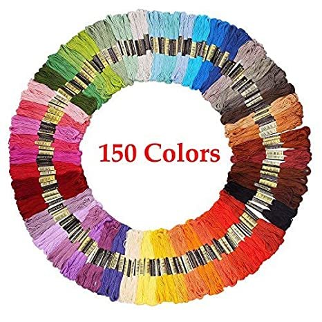 Embroidery Floss Friendship Bracelet String 150 Skeins Multi Color Cross Stitch Thread With Color Numbers,6 Strand Floss by I Shyan