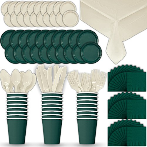 Paper Tableware Set for 24 - Hunter Green & Cream - Dinner and Dessert Plates, Cups, Napkins, Cutlery (Spoons, Forks, Knives), and Tablecloths - Full Two-Tone Party Supplies Pack (Cream Tableware)