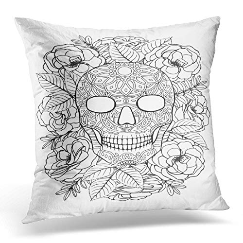 (Emvency Throw Pillow Covers Case Black Adult Sugar Skull A4 Coloring Book Page White Tattoo Decorative Pillowcase Cushion Cover for Sofa Bedroom Car 16 x 16)