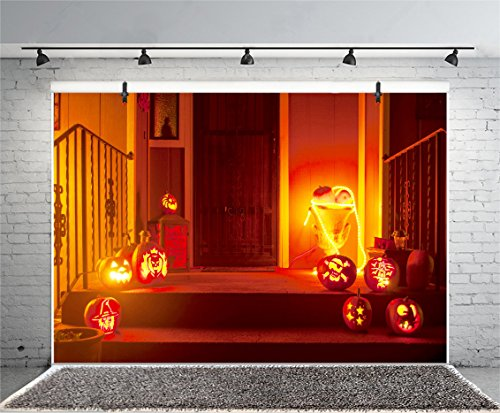 Leyiyi 5x3ft Photography Background Happy Halloween Party Backdrop Pumpkin Lamps Apartment Doorway Outdoor Stairs Horro Costume Carnival Night Trick or Treat Photo Portrait Vinyl Studio Video Prop -