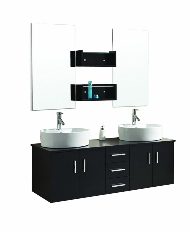 Virtu USA UM-3053-ES Enya 60-Inch Wall-Mounted Double Sink Bathroom Vanity with Ceramic Basins, Chrome Faucets, Espresso Finish