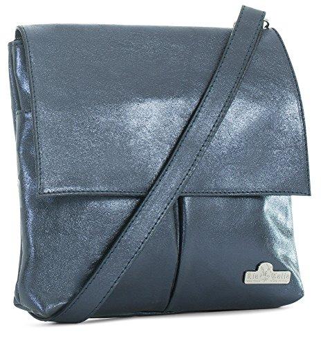 Real Womens Navy Crossbody Soft Metallic Leather Shoulder Messenger Hazel Handbag LIATALIA Italian qPT5Fwqd