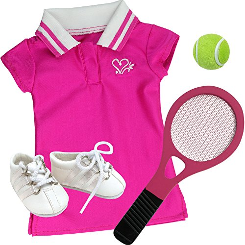 18 Inch Doll Tennis Dress, 4 Pc. Hot Pink Tennis Set Fits American Girl Doll Clothes & More! Doll Dress, Doll Racquet, Ball & Shoes