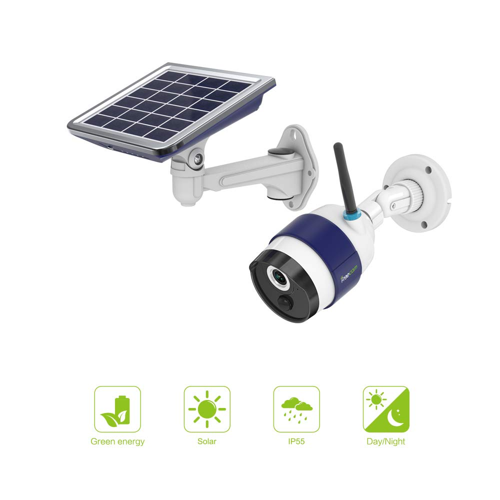 FREECAM Solar Rechargeable Battery Powered WiFi Camera,Outdoor Wireless Security Camera with Motion-Activated Night Vision PIR Sensor Alert Push SD Card,C340