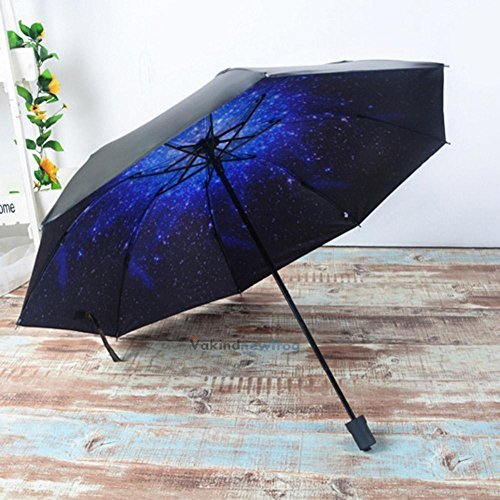 XENO-Anti-UV Sun Rain Protection Windproof 3D Star Sky Parasols 3 Folding - San Ford Tan