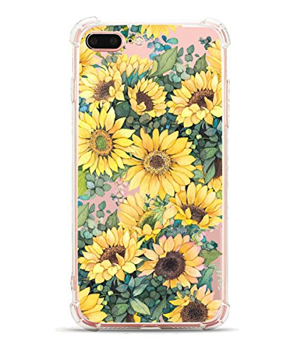 iPhone 7 Plus Case, iPhone 8 Plus Case, Hepix Clear Soft Flexible Watercolor Flowers Floral Print TPU Back Cover for iPhone 7 Plus/iPhone 8 Plus [5.5 inch] (Sunflower)