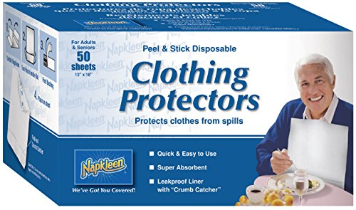 Bibs Disposable Napkleen - Napkleen Disposable Clothing Protectors, Peel and Stick, 50-Count (Pack of 12)