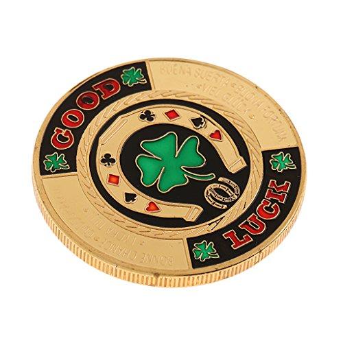 Poker Commemorative Set (Homyl Metal Banker Chips Press Card Poker Accessories Souvenir Commemorative Coins Poker Protector N)