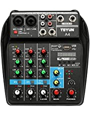 Lixada TU04 BT Sound Mixing Console Record 48V Phantom Power Monitor AUX Paths Plus Effects 4 Channels Audio Mixer with USB