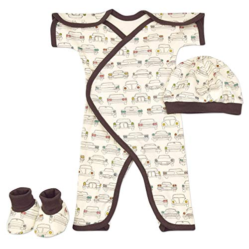 Perfectly Preemie Short Sleeve NIC-Jumpsuit - NICU Friendly (Headlamps - Organic - with hat & Booties, ()