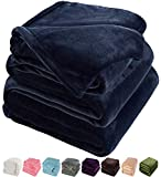 LBRO2M Fleece Bed Blanket Super Soft Warm Fuzzy Velvet Plush Throw Lightweight Cozy Couch Blankets Queen(90-Inch-by-90-Inch) Royal Blue