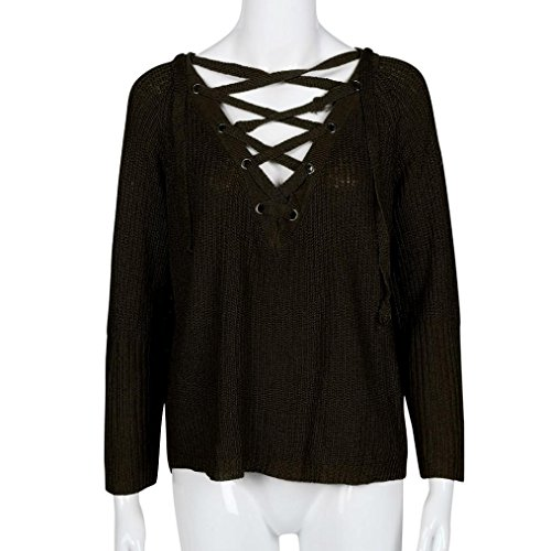 tricot Top Tricot manches Femme Tonsee longues en Pull SZXPw