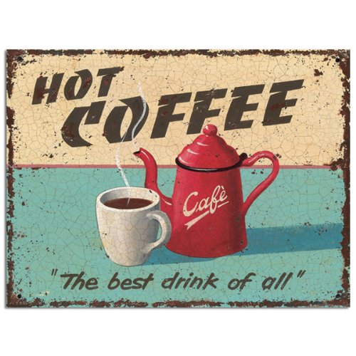 Hot Coffee Metal Sign for decorating kitchen, diner, breakfast nook