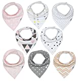 Baby Bandana Drool Bib Set of 8 for Girls, Organic Super...