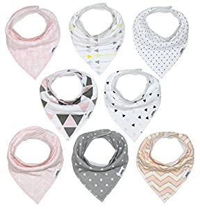Baby Bandana Drool Bib Set of 8 for Girls, Organic Super Absorbent, Soft, & Chic Drooling and Teething Bibs (Blush Pink) by Matimati