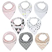 Baby Bandana Drool Bib Set of 8 for Girls, Organic Super Absorbent, Soft, Chic Drooling and Teething Bibs (Blush Pink) by Matimati