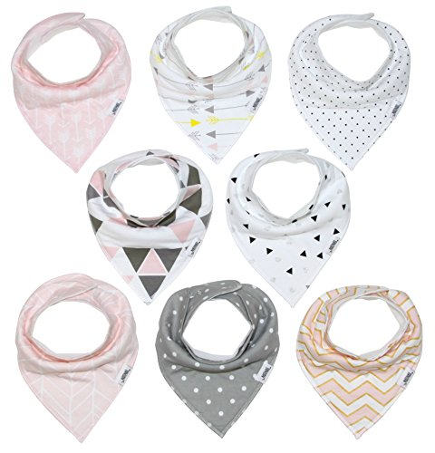 Baby Bandana Drool Bib Set of 8 for Girls, Organic Super Absorbent, Soft, & Chic Drooling and Teething Bibs (Blush Pink) by Matimati Bandana Bib
