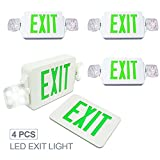 eTopLighting [4 Pack] LED Exit Sign Emergency Light, Angle Adjustable Side Light, Rotatable Head Light, White Body, Green Letter, Top / Side / Installation, AGG2262