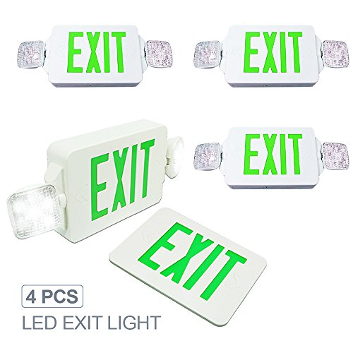 eTopLighting [4 Pack] LED Exit Sign Emergency Light, Angle Adjustable Side Light, Rotatable Head Light, White Body, Green Letter, Top / Side / Installation, AGG2262 by eTopLighting