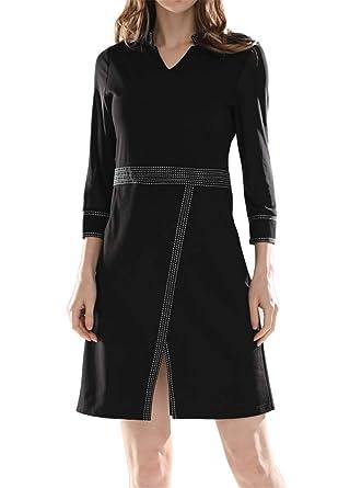 83ac5d87273 Luna et Margarita Petite Robe Noire Ajustée Col V Montant Chic Et Originale Manche  3 4 en Voile à Fendu et Poches  Amazon.fr  Vêtements et accessoires