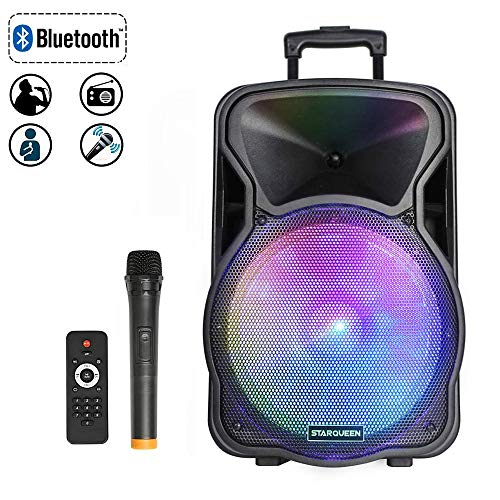 "Starqueen 12"" Portable Bluetooth Speaker, Rechargeable PA System with Wireless Micorphone/Remote/Wheels/DJ Party Light, Outdoor Big Karaoke Amplifier Sound System with AUX/FM ()"
