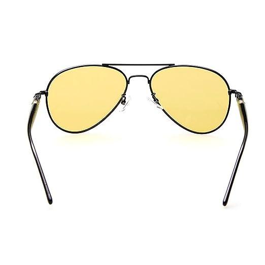 Meijunter Hommes Lunettes de soleil aviateur Lunettes de conduite Ossature métallique Lunettes de soleil lentille jaune Polarized KnoZq