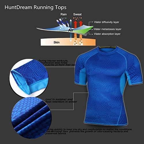 Top Sport Maglia 2 Cool Da Blu Mens A Compression Maniche Corte Manica stile Dry Allenamento Huntdream Corta axTqXIx