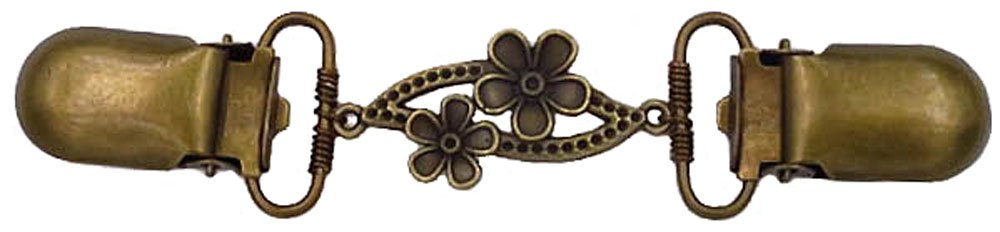 Bronze Oval with Flowers Cardigan Clip