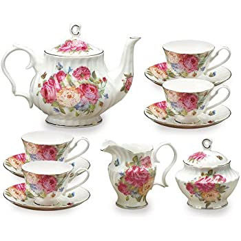 Amazon Com Gracie Bone China 11 Piece Tea Set Purple