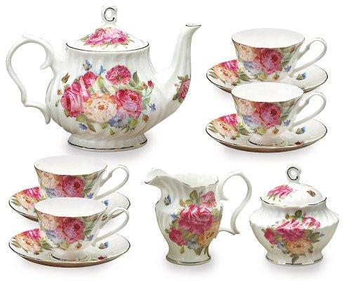 Gracie Bone China 11-Piece Tea Set, Pink