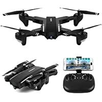 Owill Mini Foldable Wifi FPV Wide Angle 720P HD Camera 2.4G 6-Axis RC Quadcopter Drone Real-time Transmission Helicopter (Black)