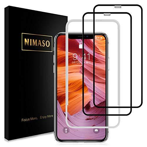少ない傷つきやすい分割【2枚セット】Nimaso iPhoneXS Max 用 全面保護フィルム液晶強化ガラス 【ガイド枠付き】【日本製素材旭硝子製】(アイフォン xs max用)